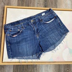 Lucky Brand 14 frayed cut off denim jean shorts